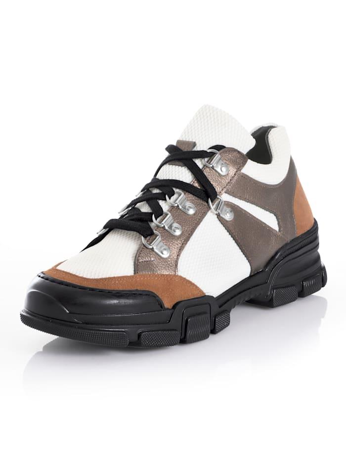 Alba Moda Sneaker mit Bergsteigerschnürung, Off-white/Braun