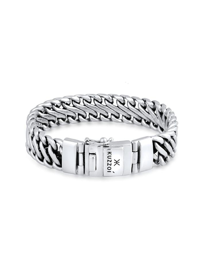 Kuzzoi Armband Herren Panzer Trend Fein Steckschließe 925 Silber, Silber