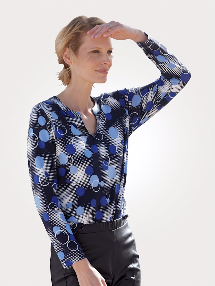 MONA Shirt mit grafischem Druck, Marineblau/Royalblau/Weiß