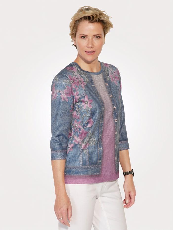 DiStrick Pullover in 2in1-Optik, Pink/Blau