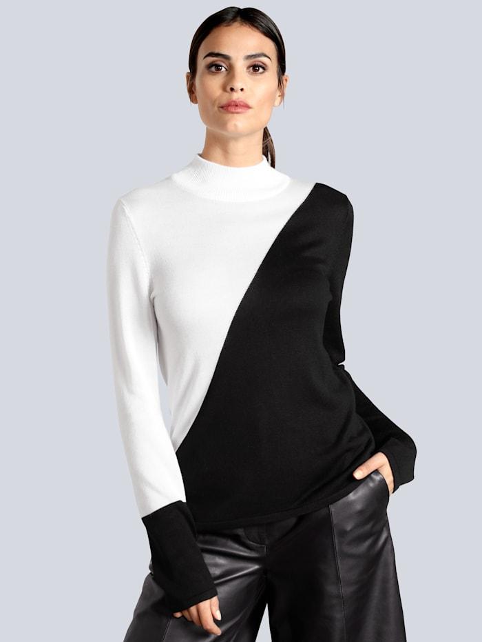 Alba Moda Pullover im modischen Colourblocking, Off-white/Schwarz