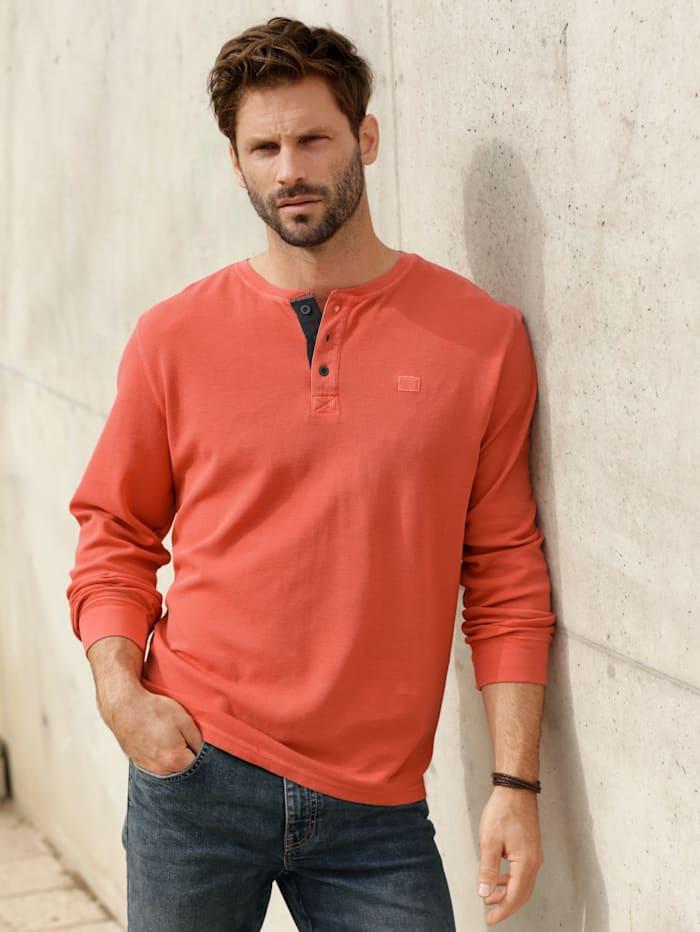 BABISTA Henleyshirt mit feiner Waffel-Struktur, Orange