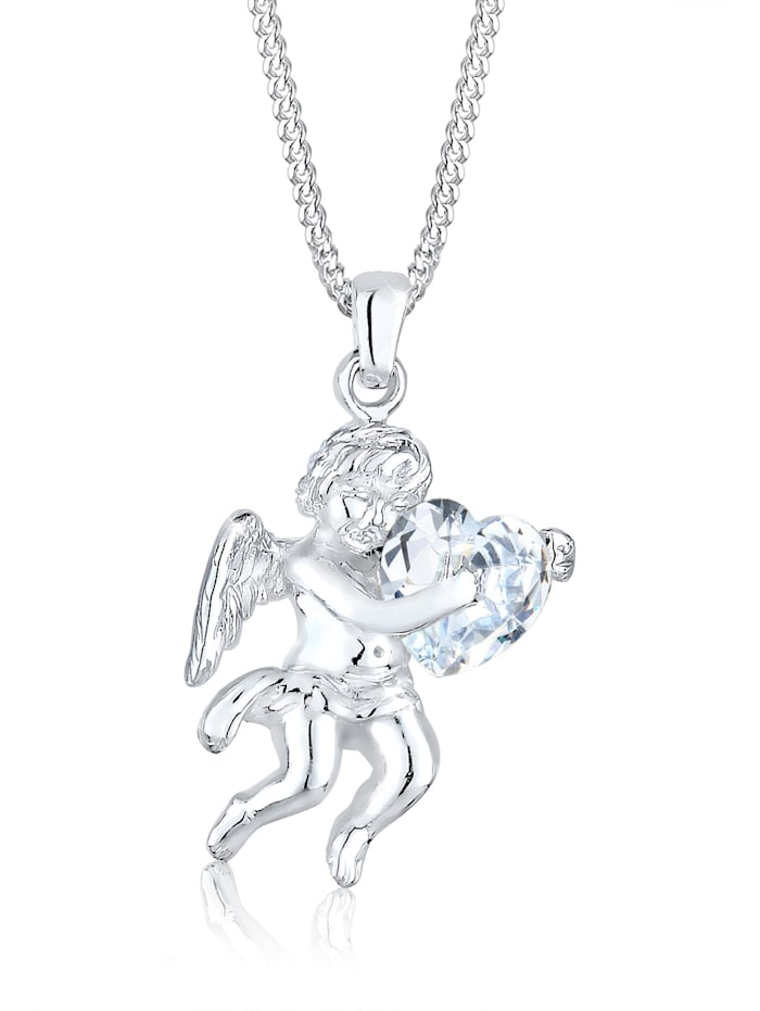 Elli Halskette Engel Herz Zirkonia 925 Sterling Silber, Weiß