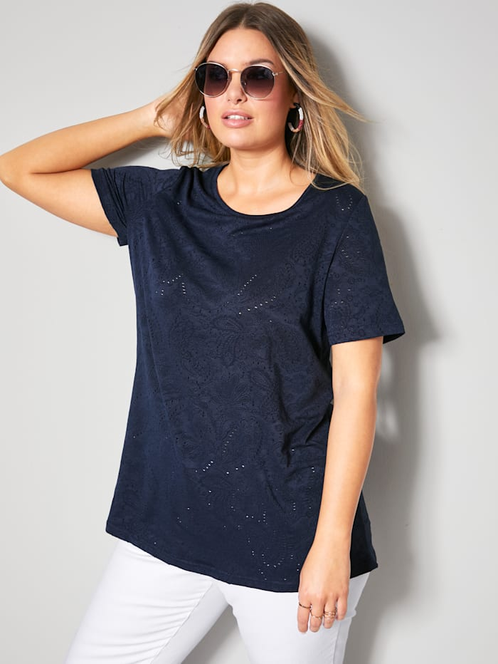 Janet & Joyce Shirt mit Lochmuster, Marineblau