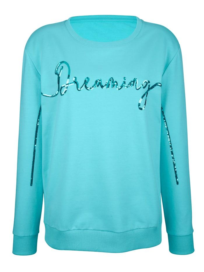 AMY VERMONT Sweatshirt mit Schriftzug aus Pailletten, Hellblau