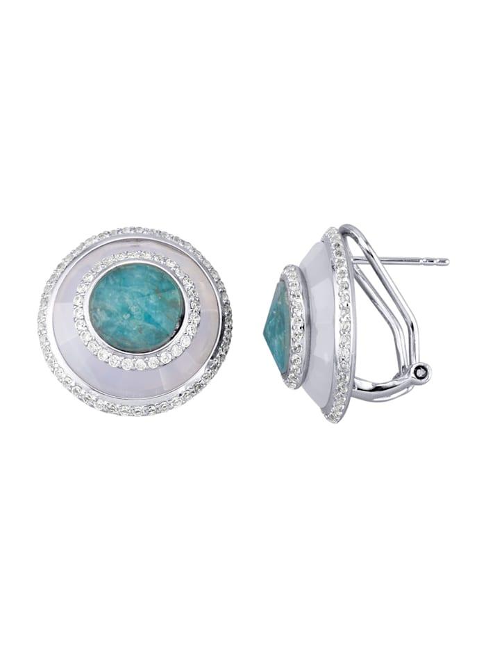 Clip-Ohrringe in 925 Silber, Blau