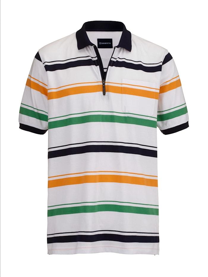 BABISTA Poloshirt met rits, Wit/Oranje/Groen