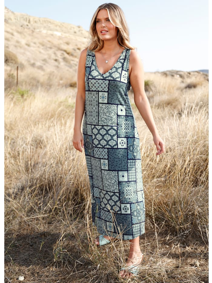 Janet & Joyce Maxi-jurk met flatterende V-hals, Salie/Mint