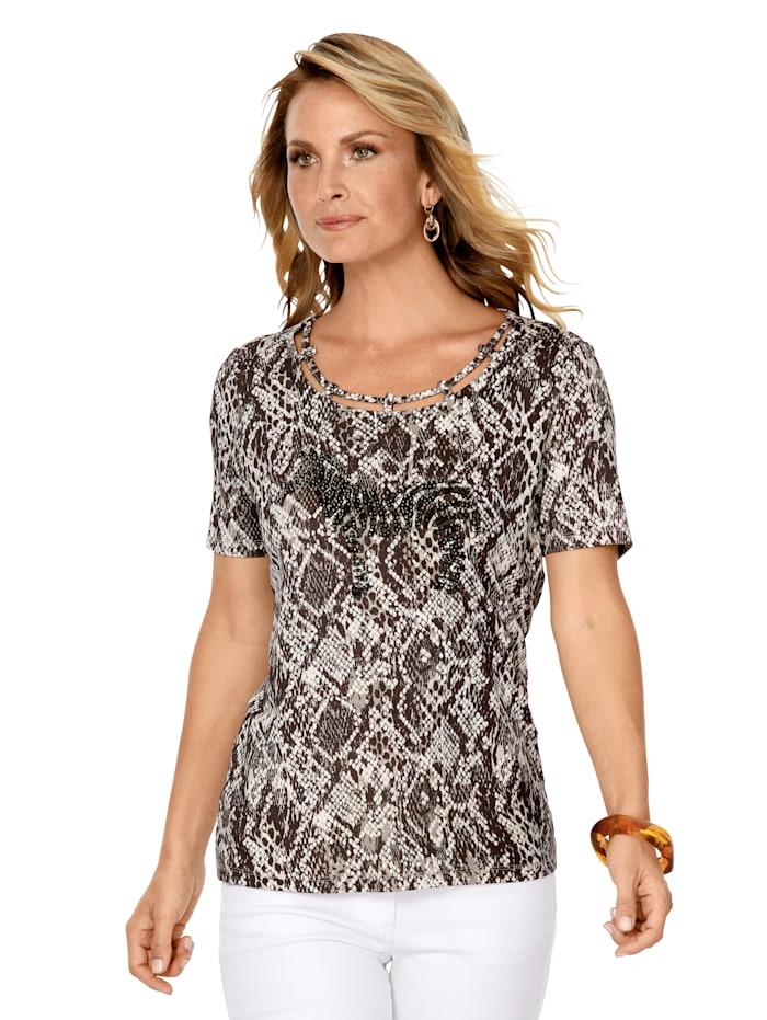 MONA Shirt met reptieldessin, Bruin/Ecru