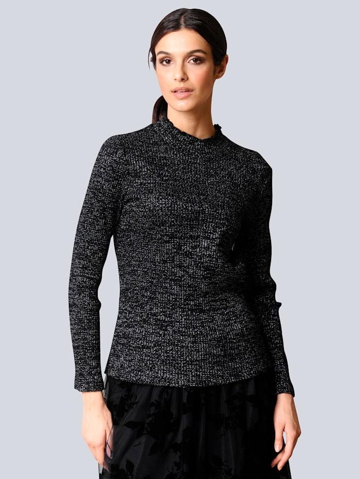 Alba Moda Shirt in schöner Rippenqualität, Schwarz