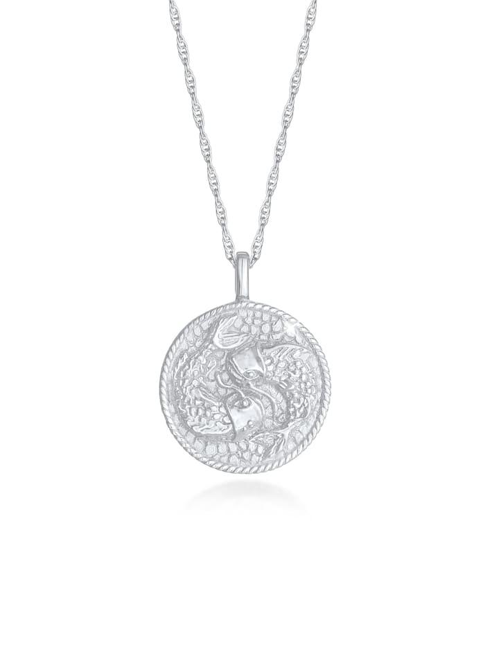 Elli Halskette Sternzeichen Fisch Astro Münze 925 Silber, Silber