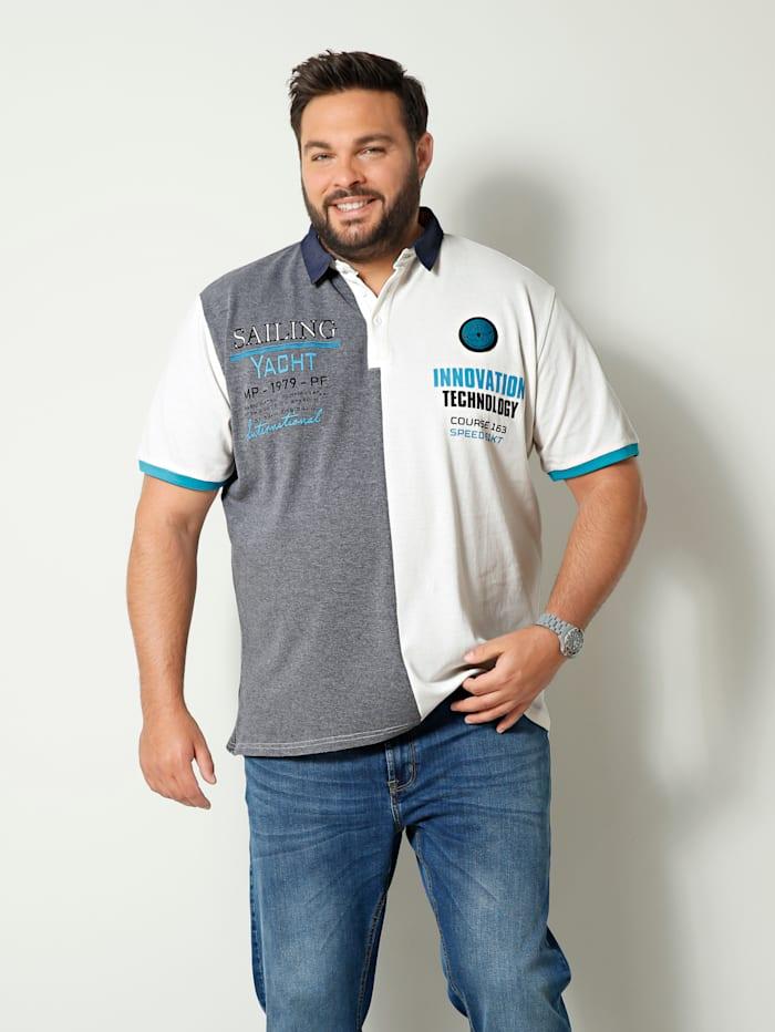 Men Plus Poloshirt aus reiner Baumwolle, Grau/Weiß