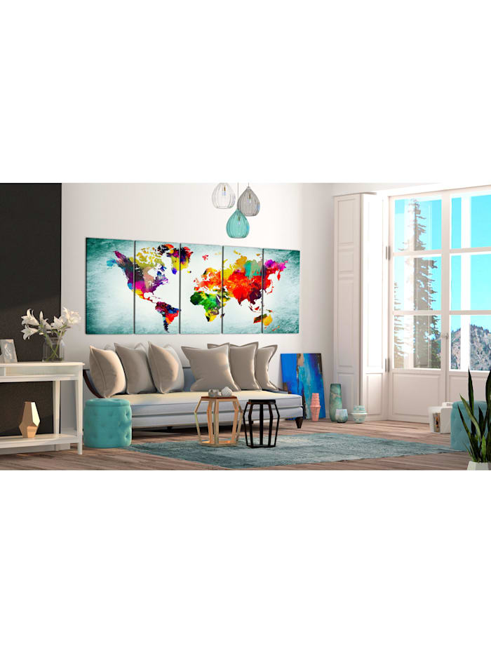 Wandbild World Map: Green Vignette