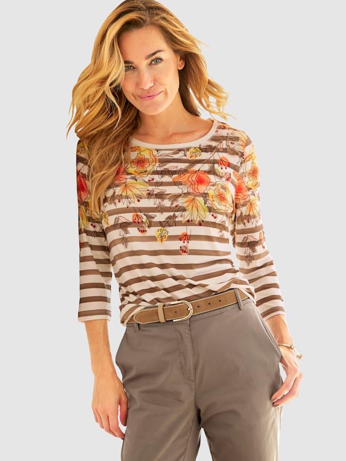 MONA Shirt bedruckt in Aquarelloptik, Ecru/Taupe/Multicolor