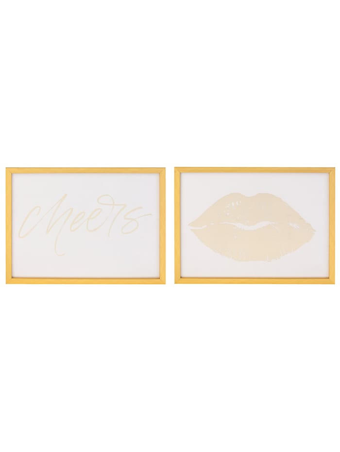 MARAVILLA Bilder-Set, 2-tlg., weiß/goldfarben