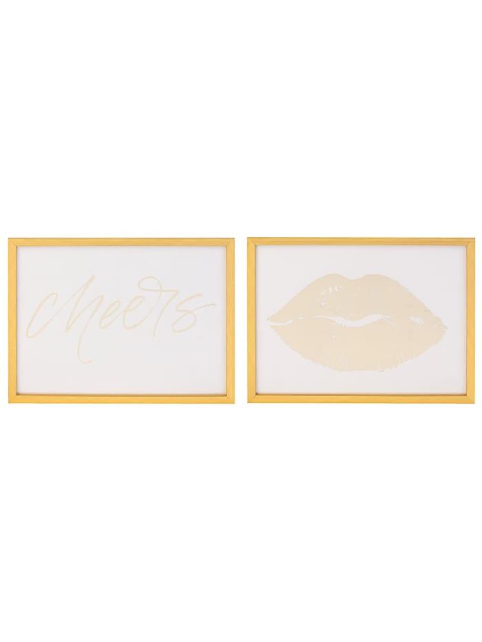 MARAVILLA Lot de 2 tableaux, Blanc/coloris or