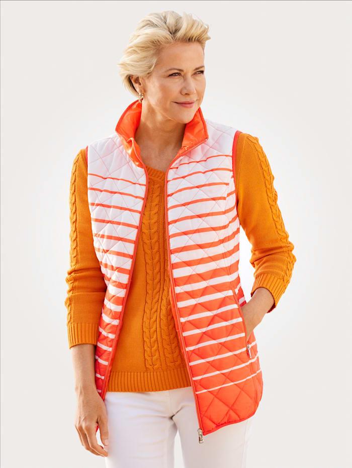MONA Steppweste im modischen Ringeldessin, Orange/Ecru