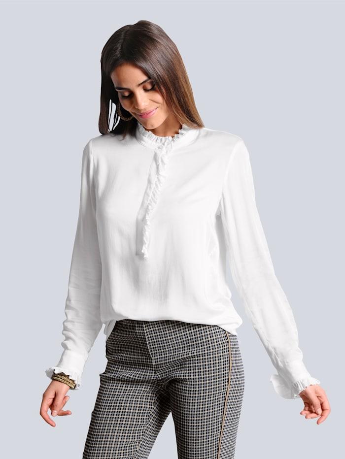 Alba Moda Bluse aus fließend weicher Ware, Off-white