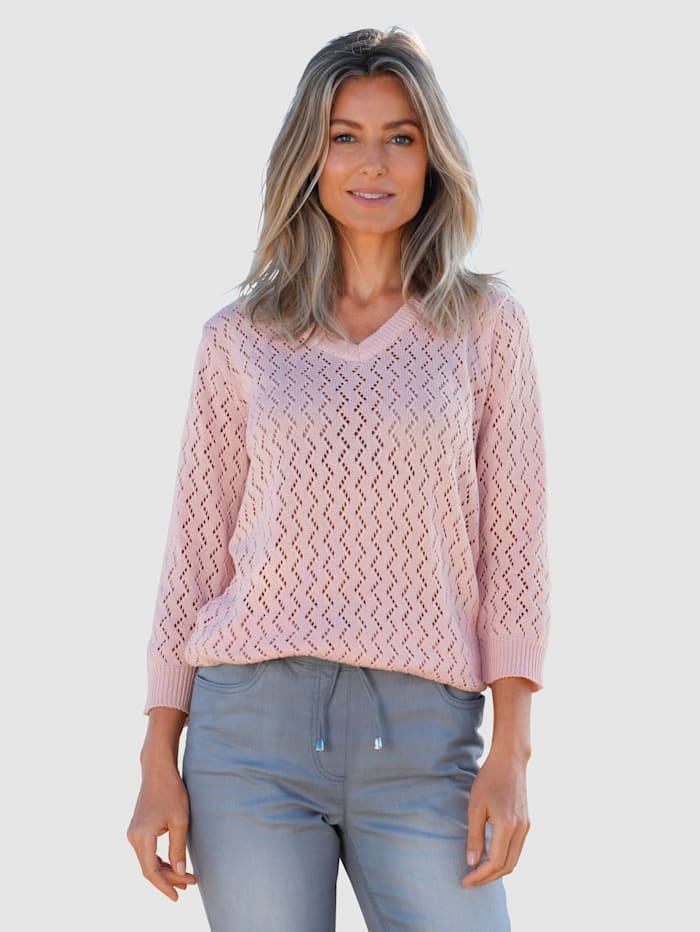 basically you Pullover mit Strickmuster, Hellrosa