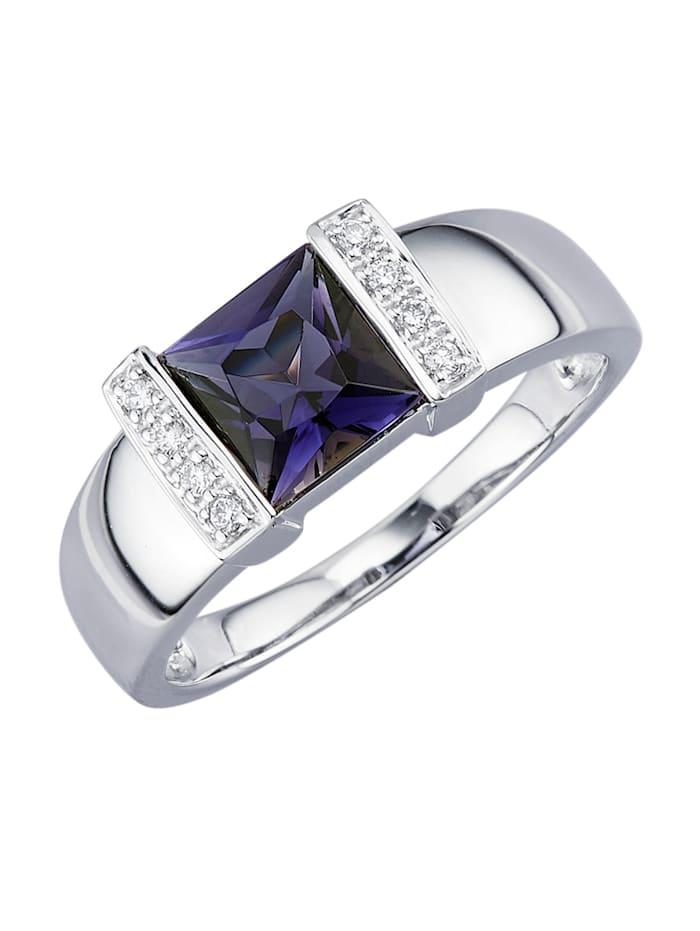 Diemer Platin Damesring met ioliet en diamanten, Paars