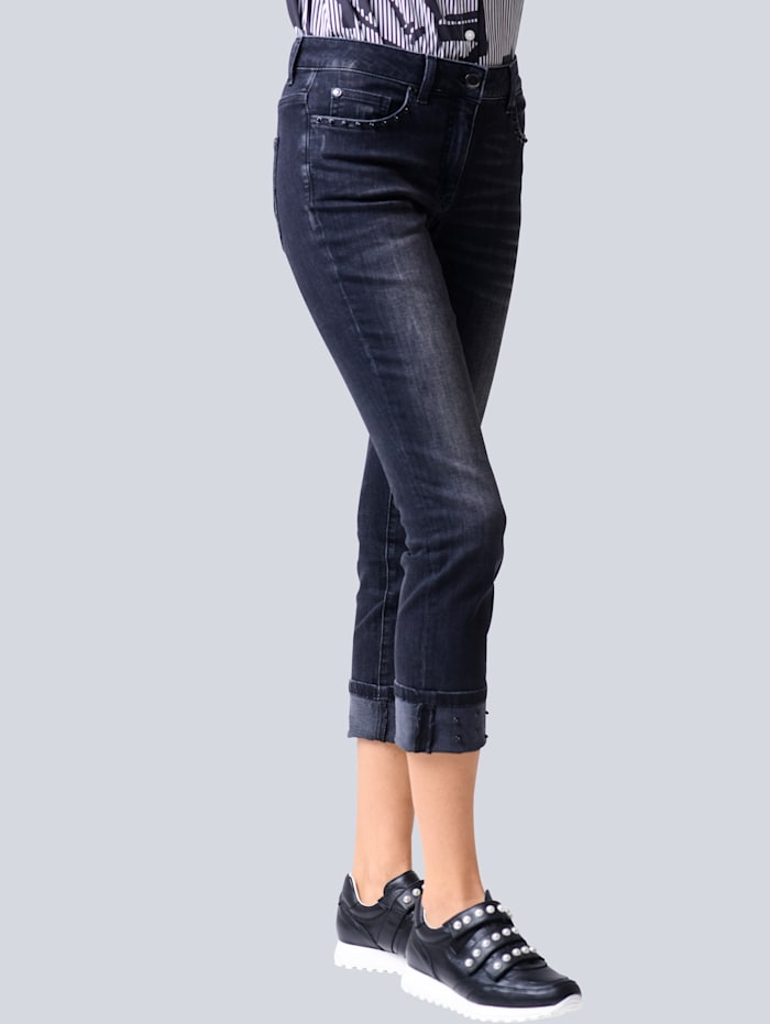Alba Moda Jeans mit Zierperlen, Schwarz