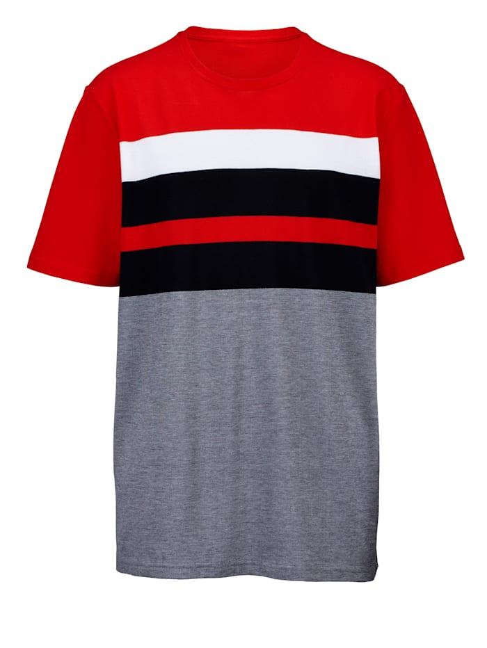 Men Plus T-shirt en pur coton, Marine/Blanc/Rouge