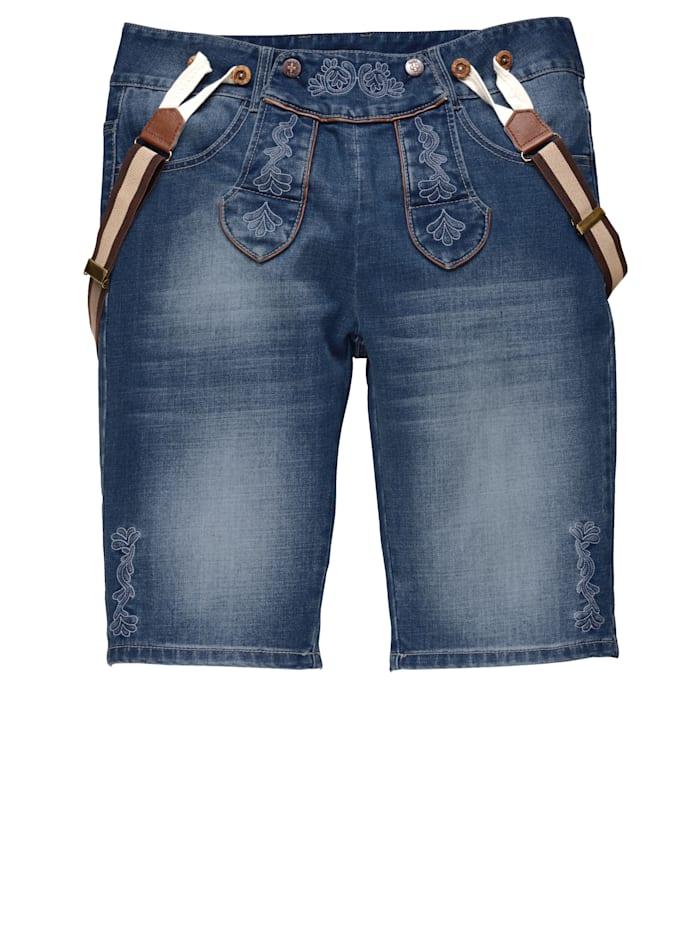 Men Plus Jeansbermuda im Trachten-Look inkl. Hosenträger, Blue stone