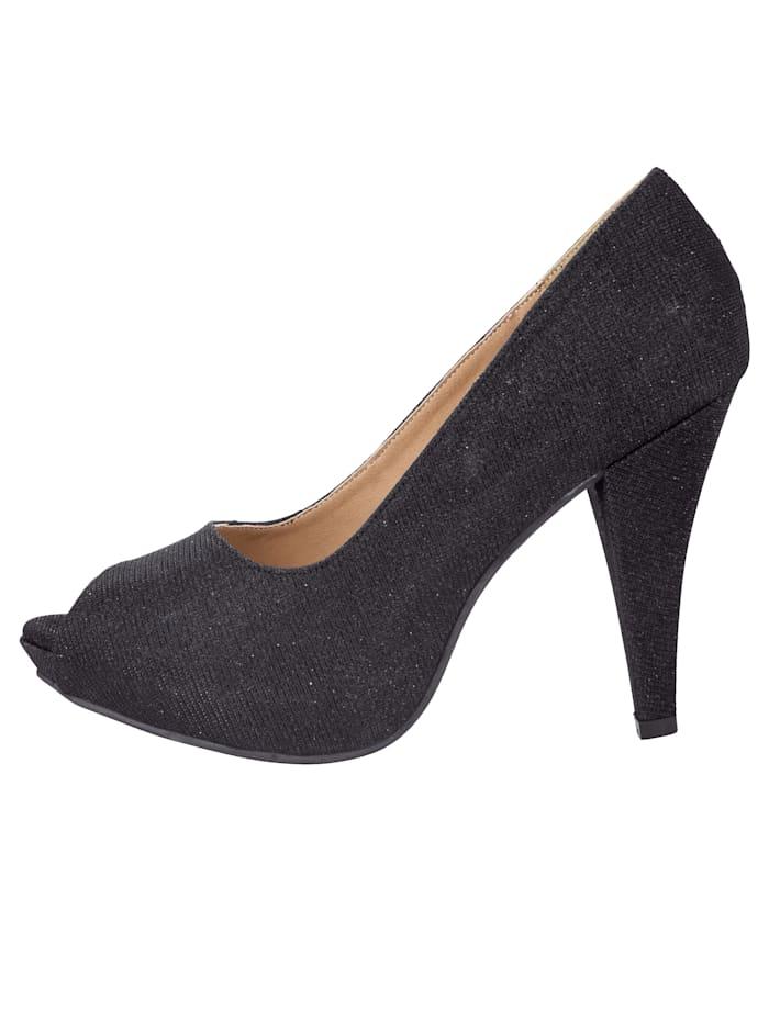 Platform peep toe shoes In stylish shimmery finish