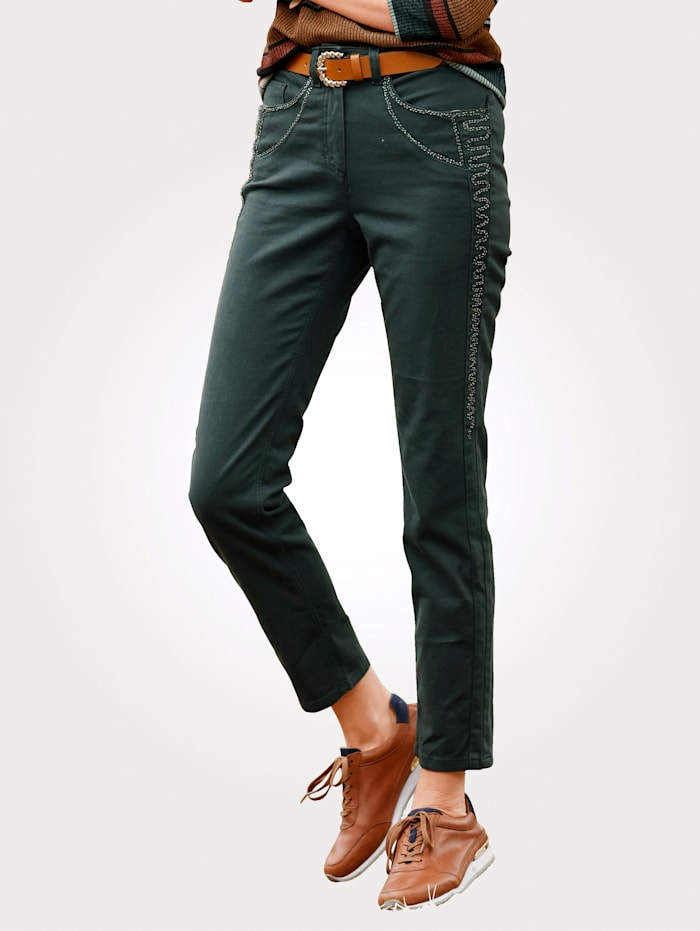 MONA Jeans with tonal embroidery, Petrol