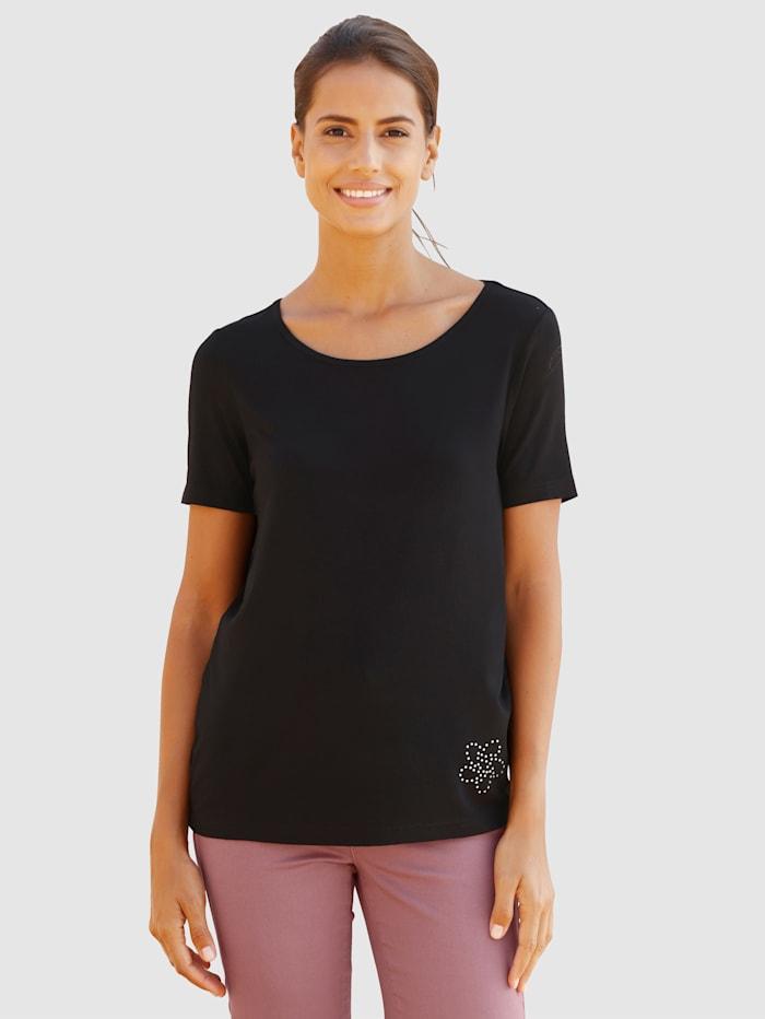 basically you T-shirt avec ornement de petites pierres fantaisie, Noir