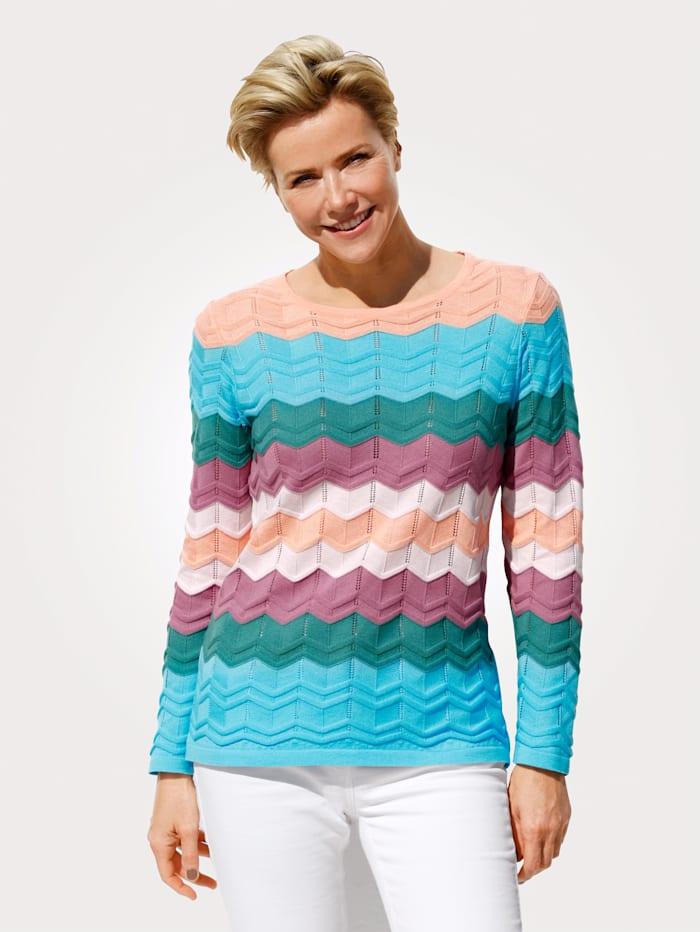 MONA Pullover mit aufwendigem Ajourstrick im harmonischen Farben, Apricot/Türkis/Grün