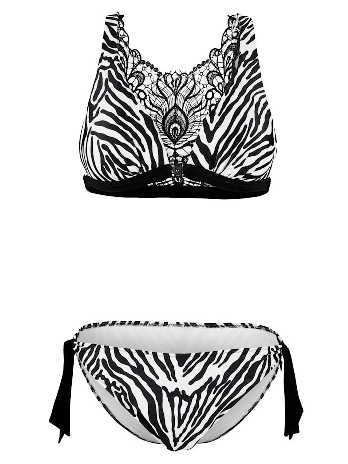 Opera Bikini mit Rücken aus Spitze, Schwarz