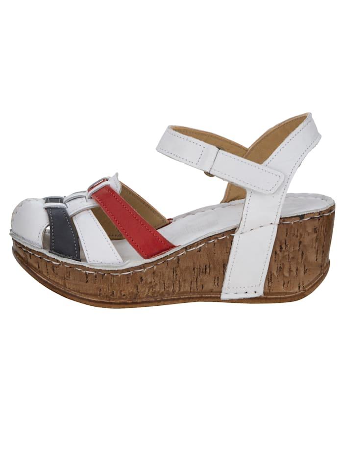 Sandaletter med kilklack, platå och kardborrestängning