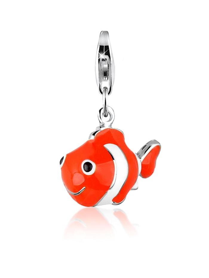 Nenalina Charm Anhänger Clownfisch Fisch Bunt Emaille 925 Silber, Silber