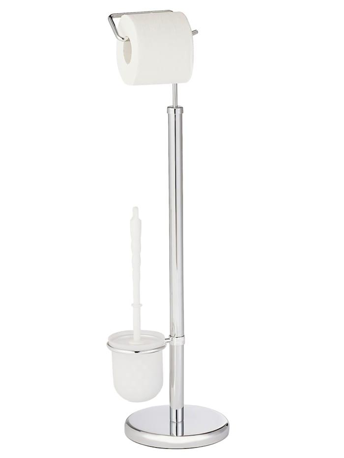 Wenko Exclusiv Stand WC-Garnitur Chrom, Chrom, Behälter: Satiniert