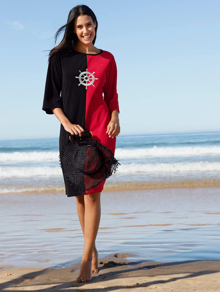 Maritim Strandkleid mit maritimer Stickerei, Schwarz/Rot
