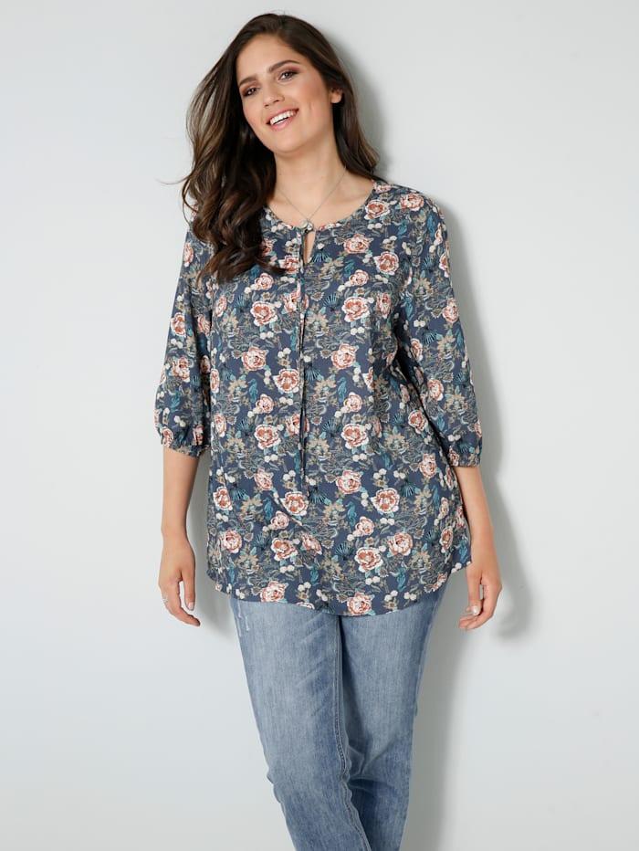 Janet & Joyce Tunika-Bluse mit floralem Druck, Marineblau/Rosenholz