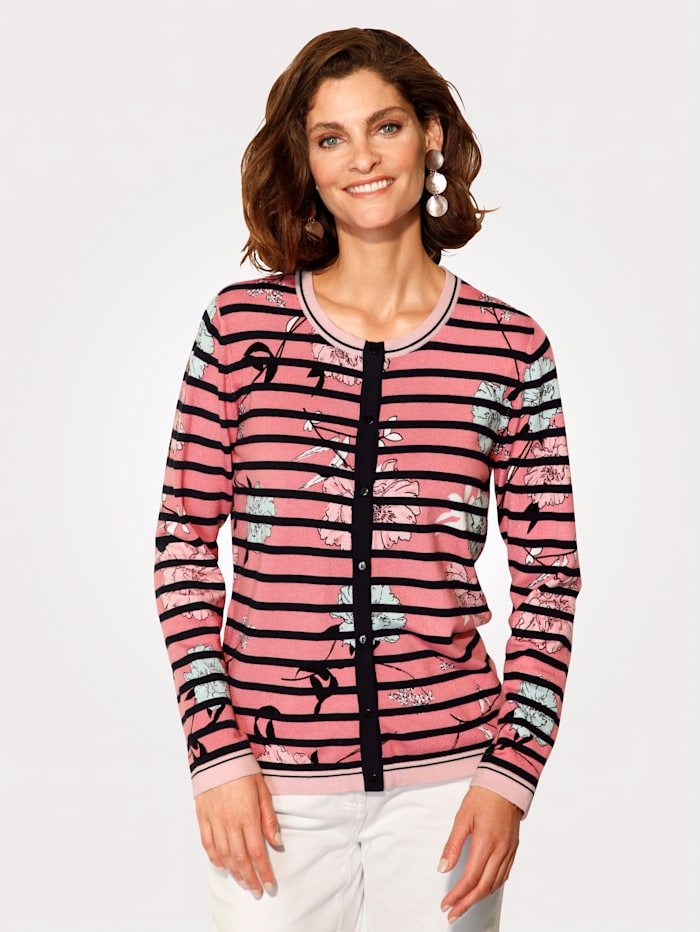 MONA Cardigan with stripes and florals, Rosé/Mint/Black