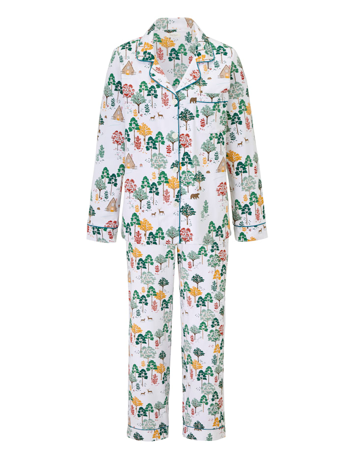 BedHead Pyjama mit Wald-Print, Off-white