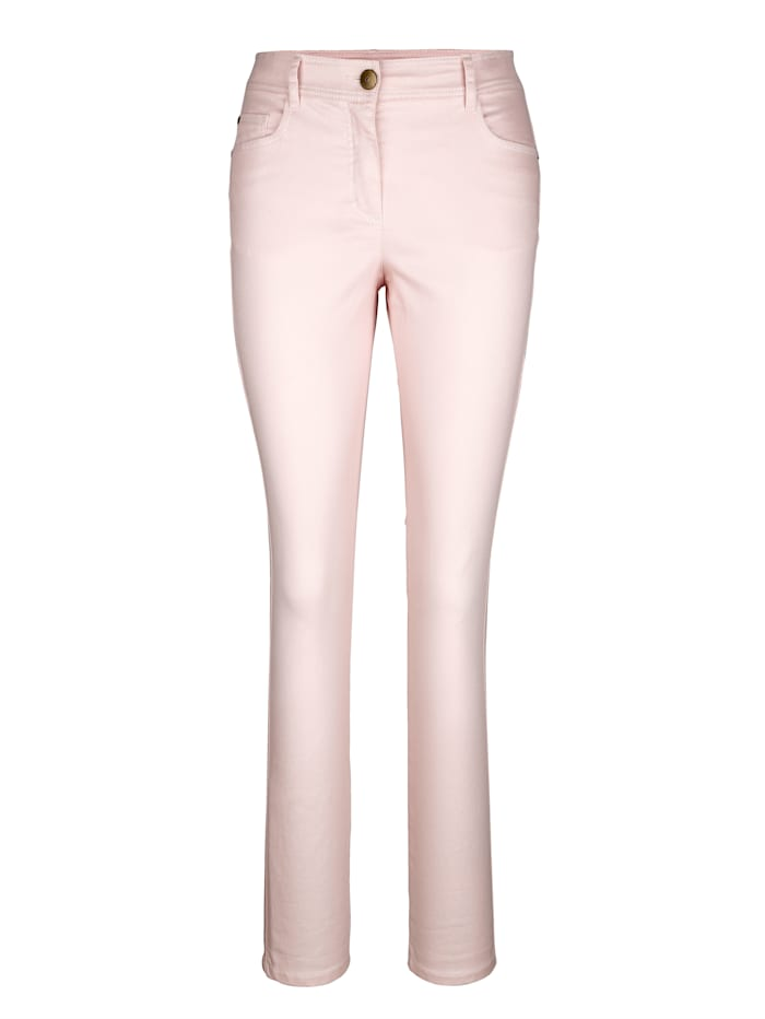Trousers with shimmering finish