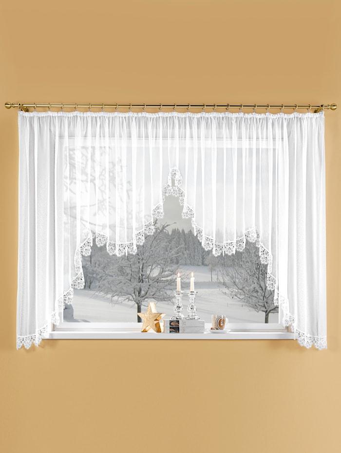 Stickereien & Textilien Stor gardin med rynkebånd, hvit