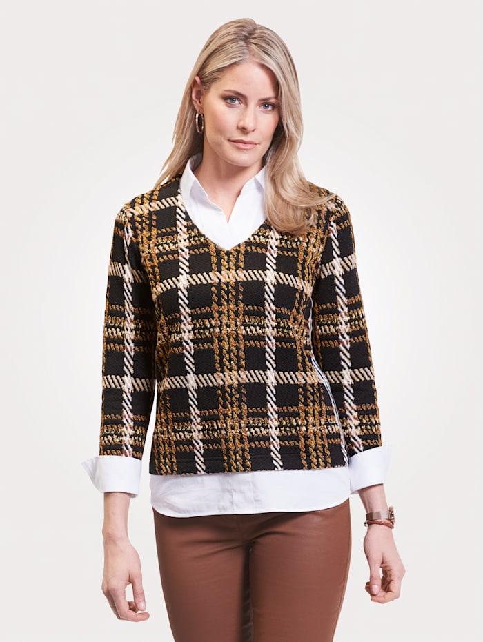 Just White 2-in-1-blouse met blouse-inzet, Zwart/Geel