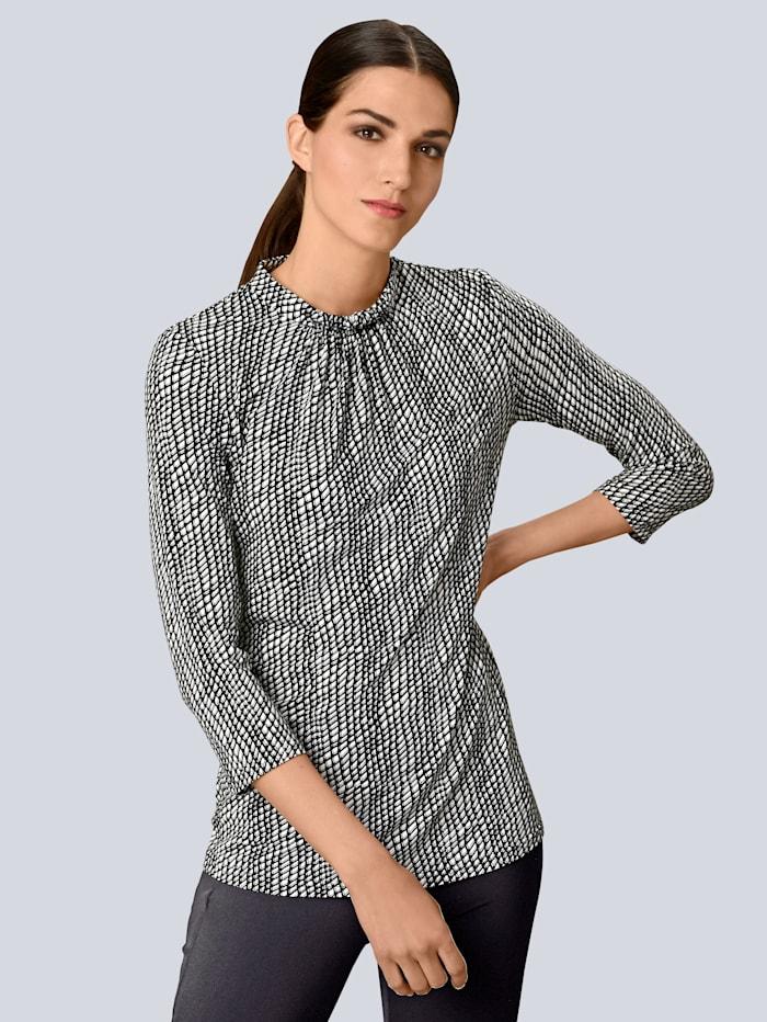 Alba Moda Druckshirt mit grafischem Print allover, Schwarz/Weiß