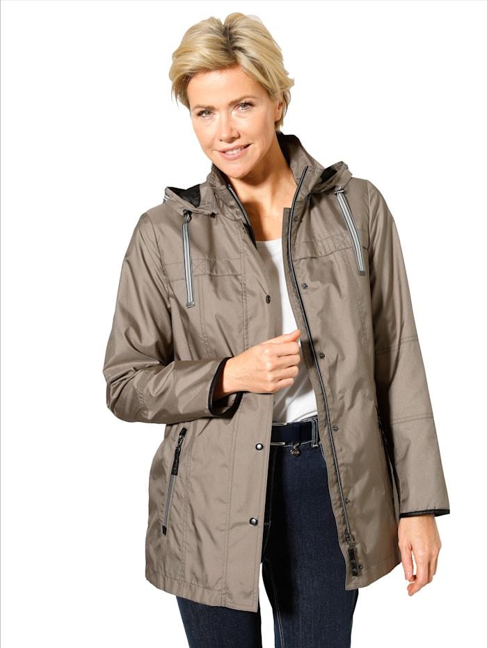 MONA Jacke mit seitlichen Saum-Reißverschlüssen, Taupe