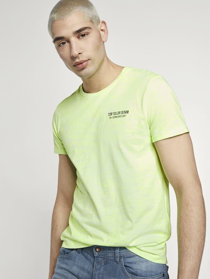 Tom Tailor Denim T-Shirt mit schlichtem Print, white neon green melange