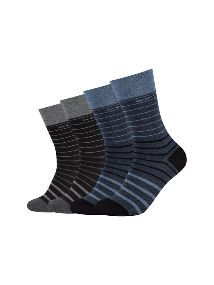 Camano Socken 4er Pack ca-soft in schickem Ringeldesign, jeans melange