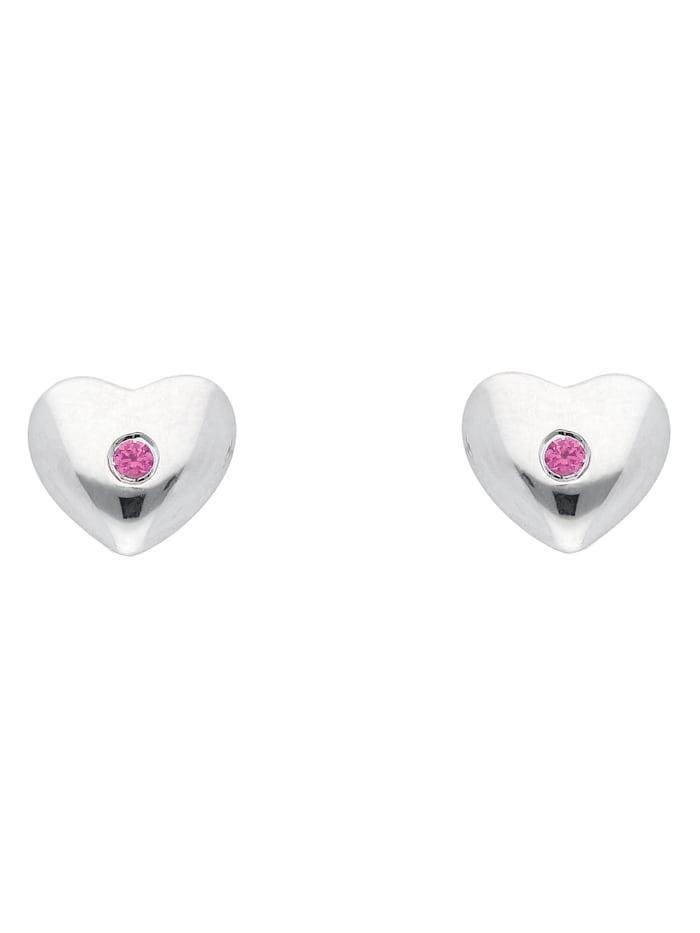 1001 Diamonds Damen Silberschmuck 925 Silber Ohrringe / Ohrstecker Herz mit Zirkonia, rot