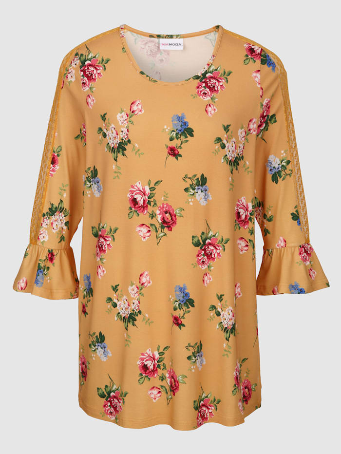 MIAMODA Kukkakuvioitu paita, Keltainen/Monivärinen