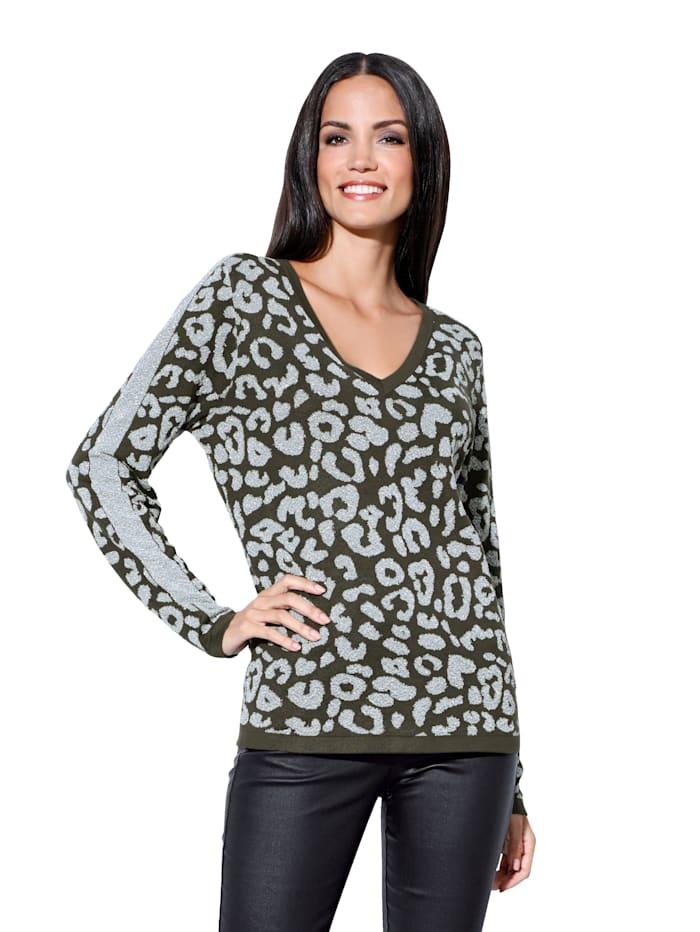 AMY VERMONT Pullover mit metallisiertem Garn, Khaki/Silberfarben
