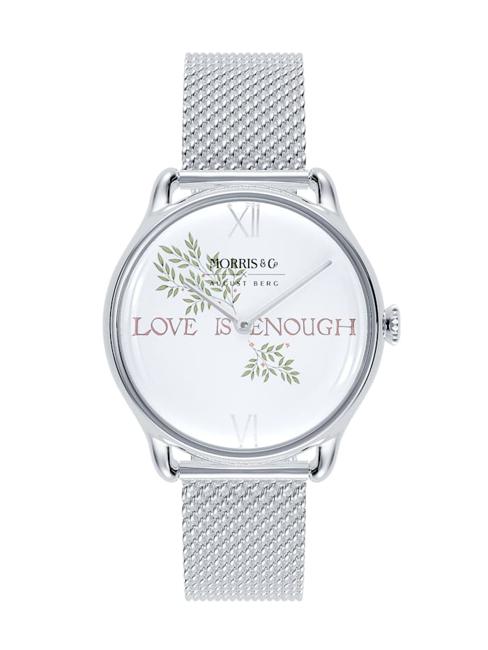August Berg Uhr MORRIS & CO Silver Love is Enough Mesh 30mm, pure